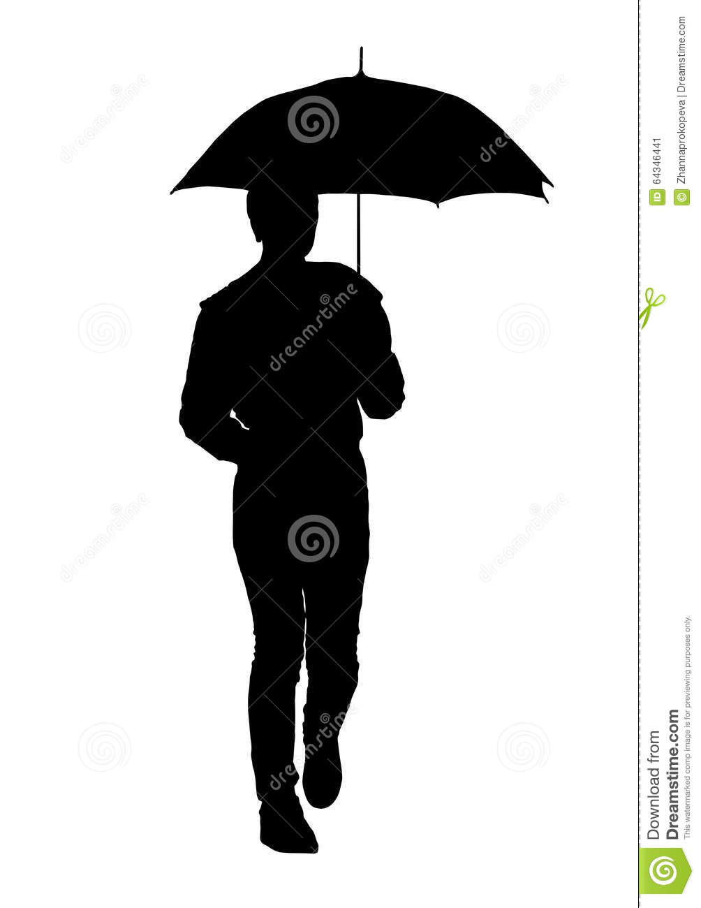 Silhouette Of A Woman With An Umbrella Stock Illustration ...  Silhouette Of A...