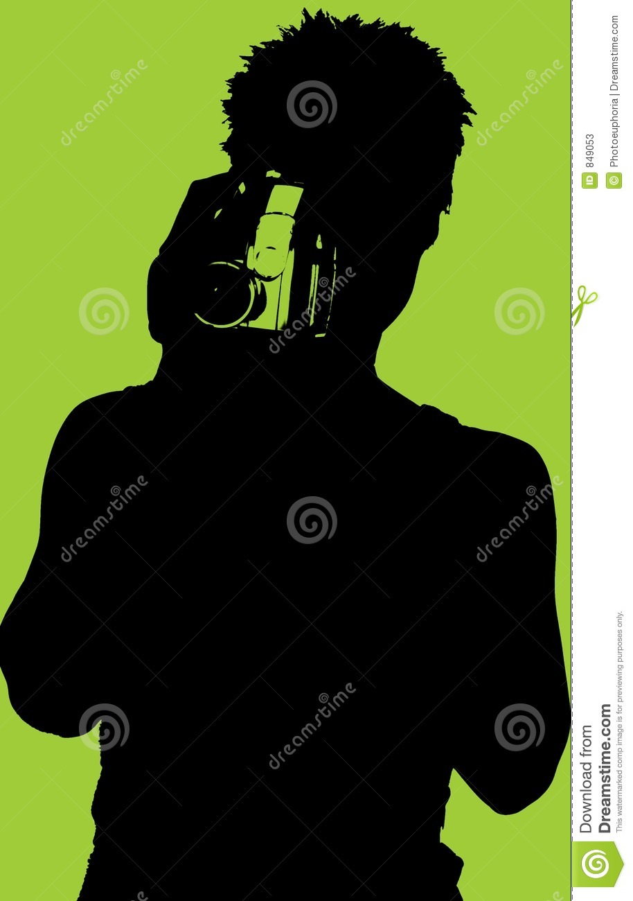 Silhouette of Woman with Video Camera