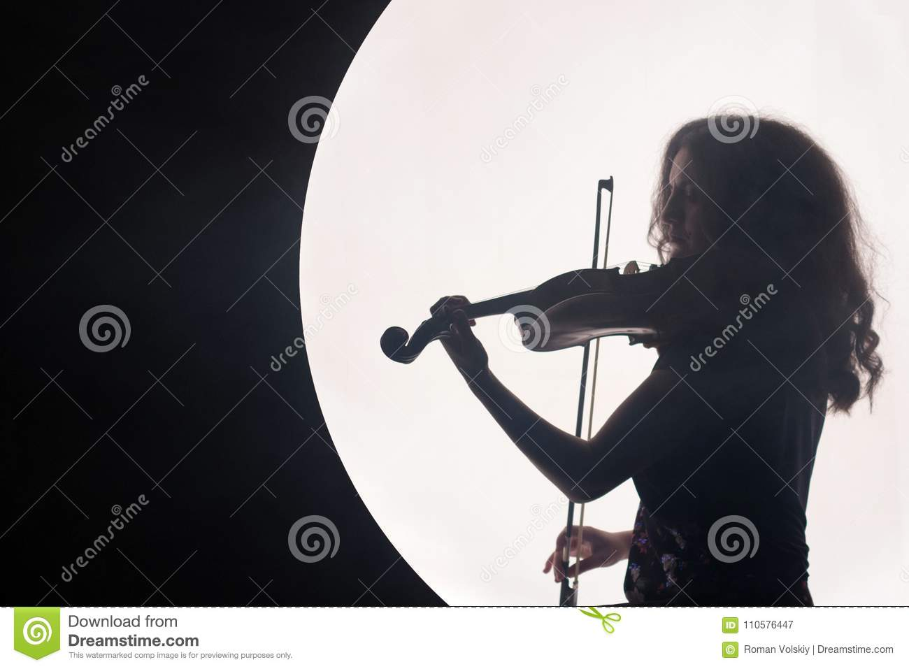Download Silhouette Of A Woman Violinist In A White Semicircle With Smoke On A Black Background. A Concept For Music During The Stock Image - Image of portrait, beautiful: 110576447