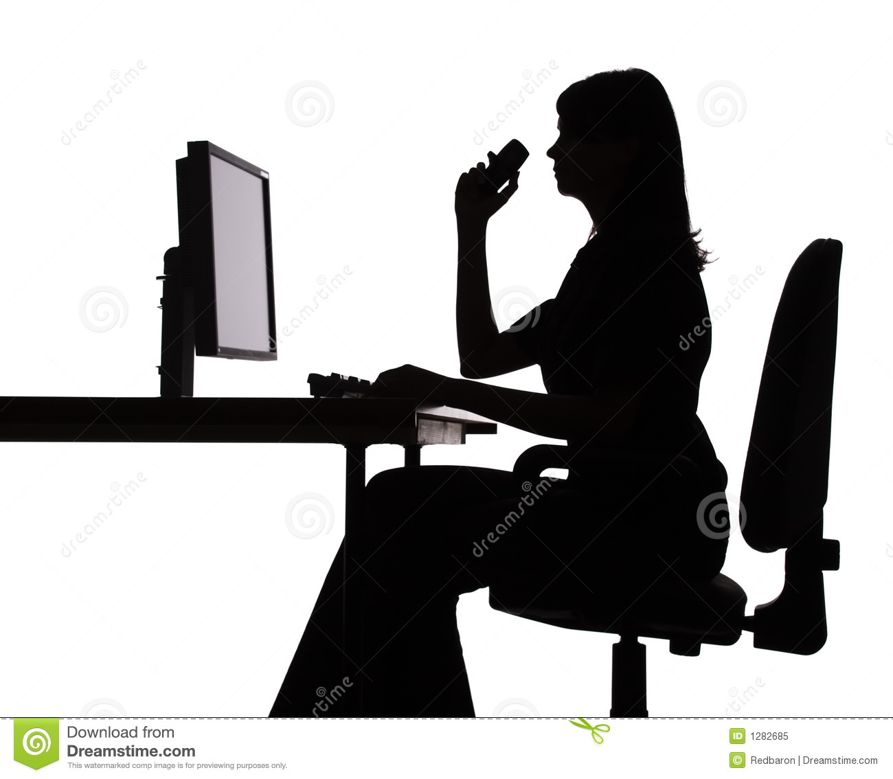 Silhouette Of Woman Working Computer Phone Stock Image