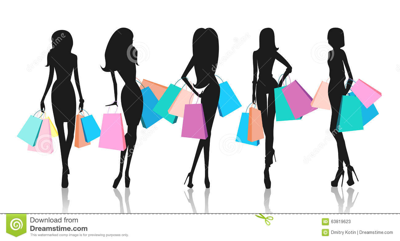 2e8886322d8 Silhouette Of Women With Shopping Bags Stock Illustration ...