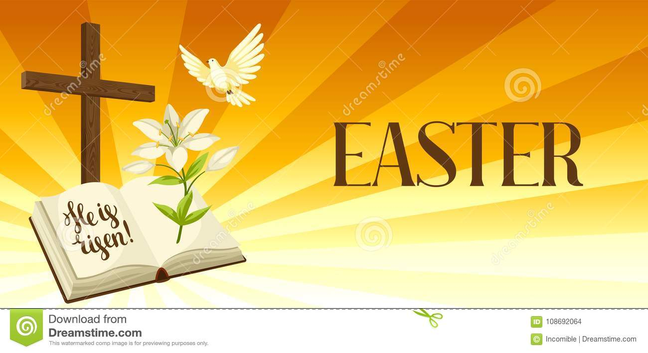 Silhouette Of Wooden Cross With Bible Lily And Dove Happy Easter