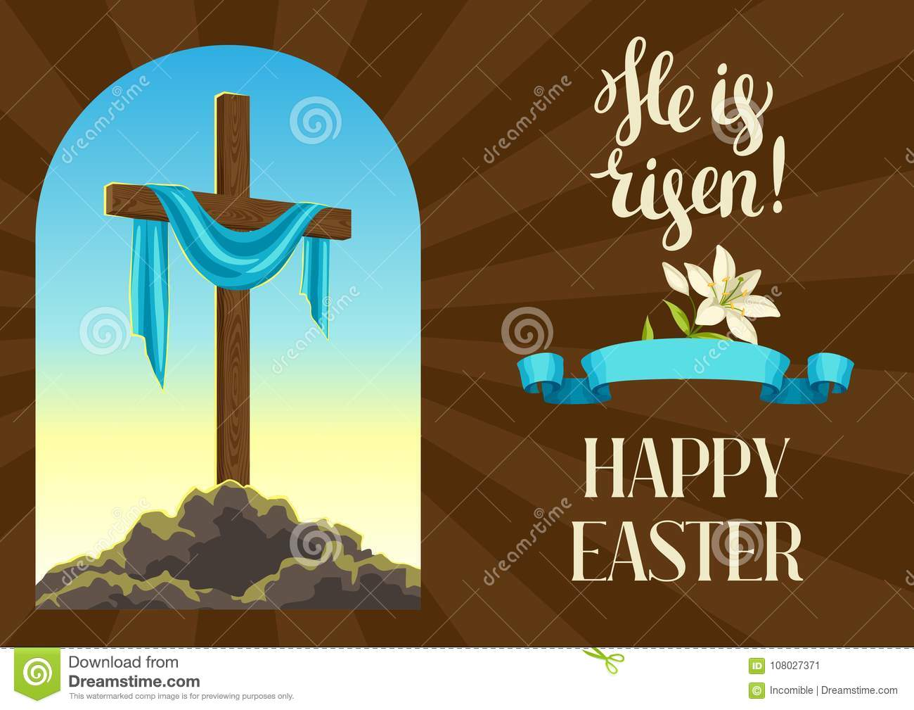 Silhouette Of Wooden Cross With Shroud Happy Easter Concept