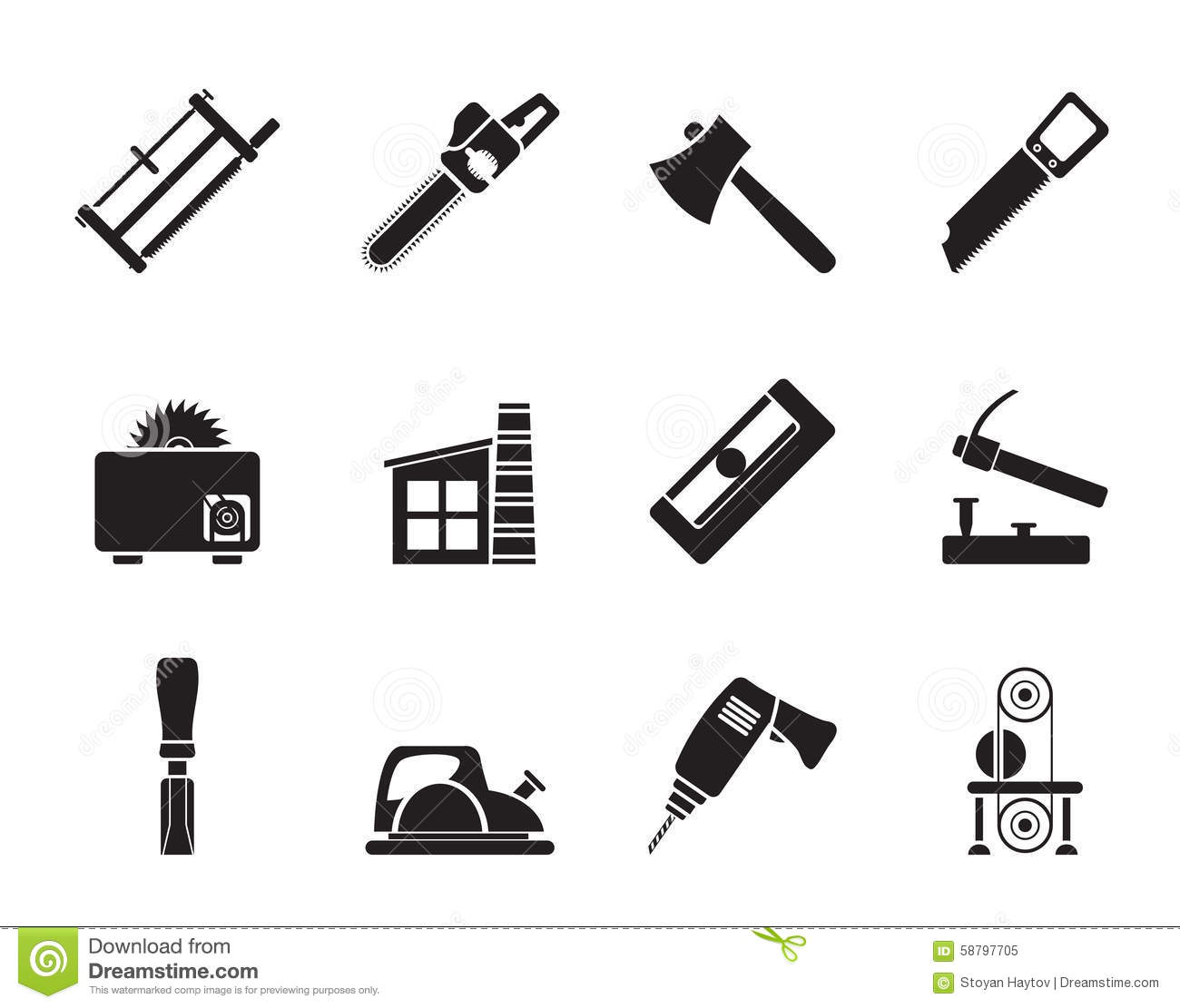 Silhouette Woodworking Industry And Woodworking Tools Icons Stock