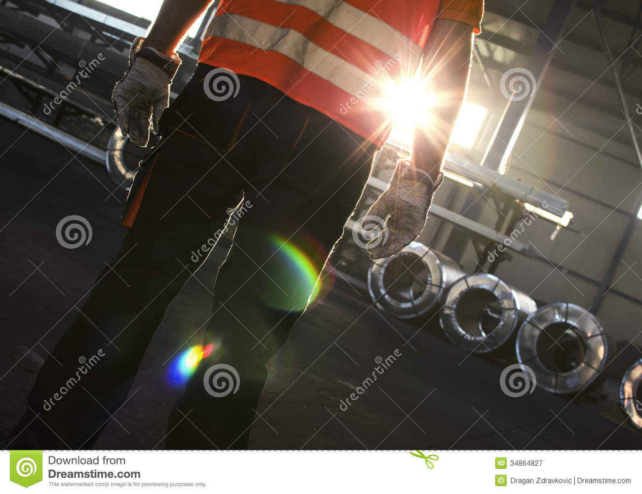 Silhouette Of Worker Stock Image Image Of Rolls