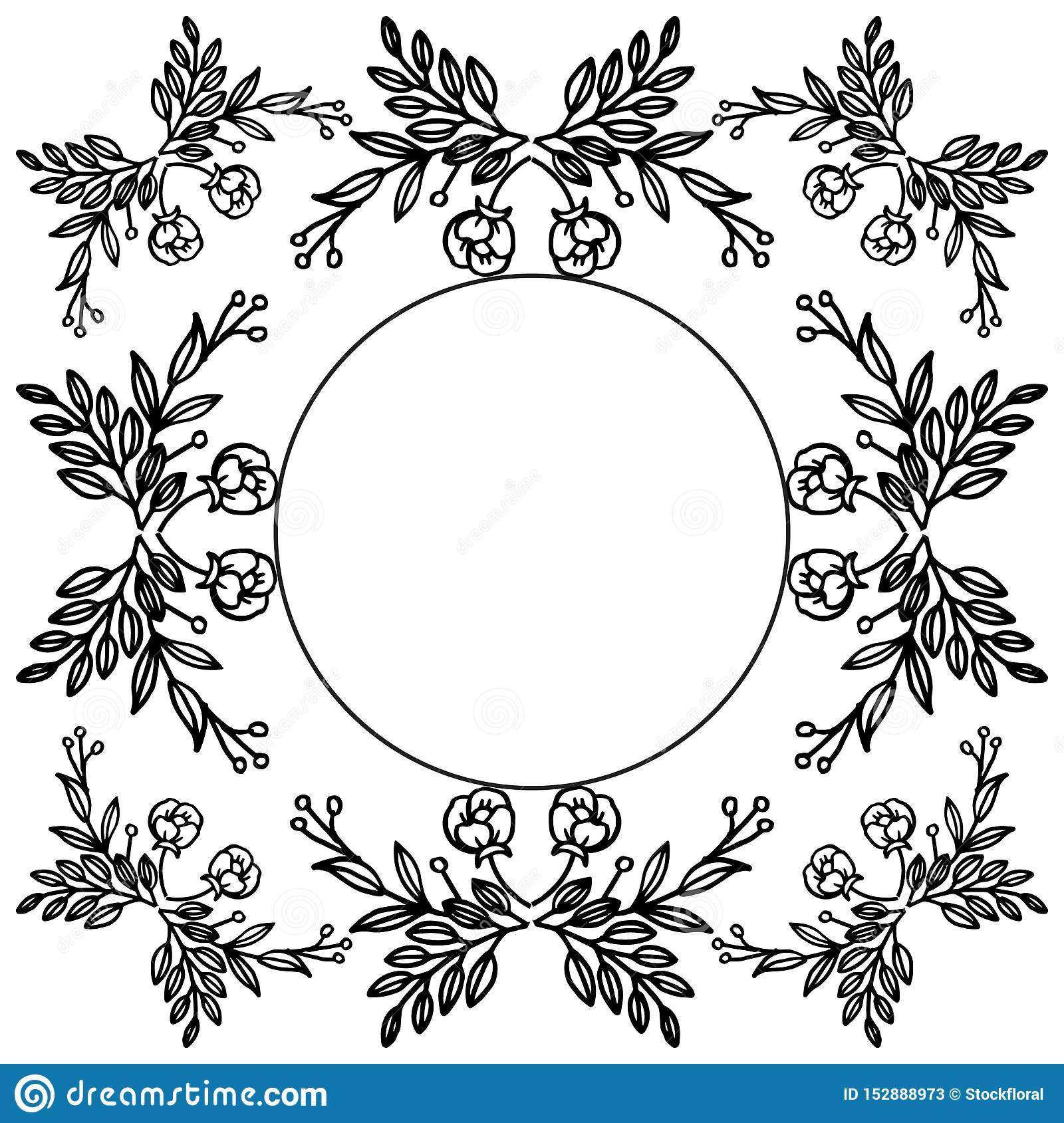 Silhouette of wreath frame, invitation card, banner and poster beautiful. Vector