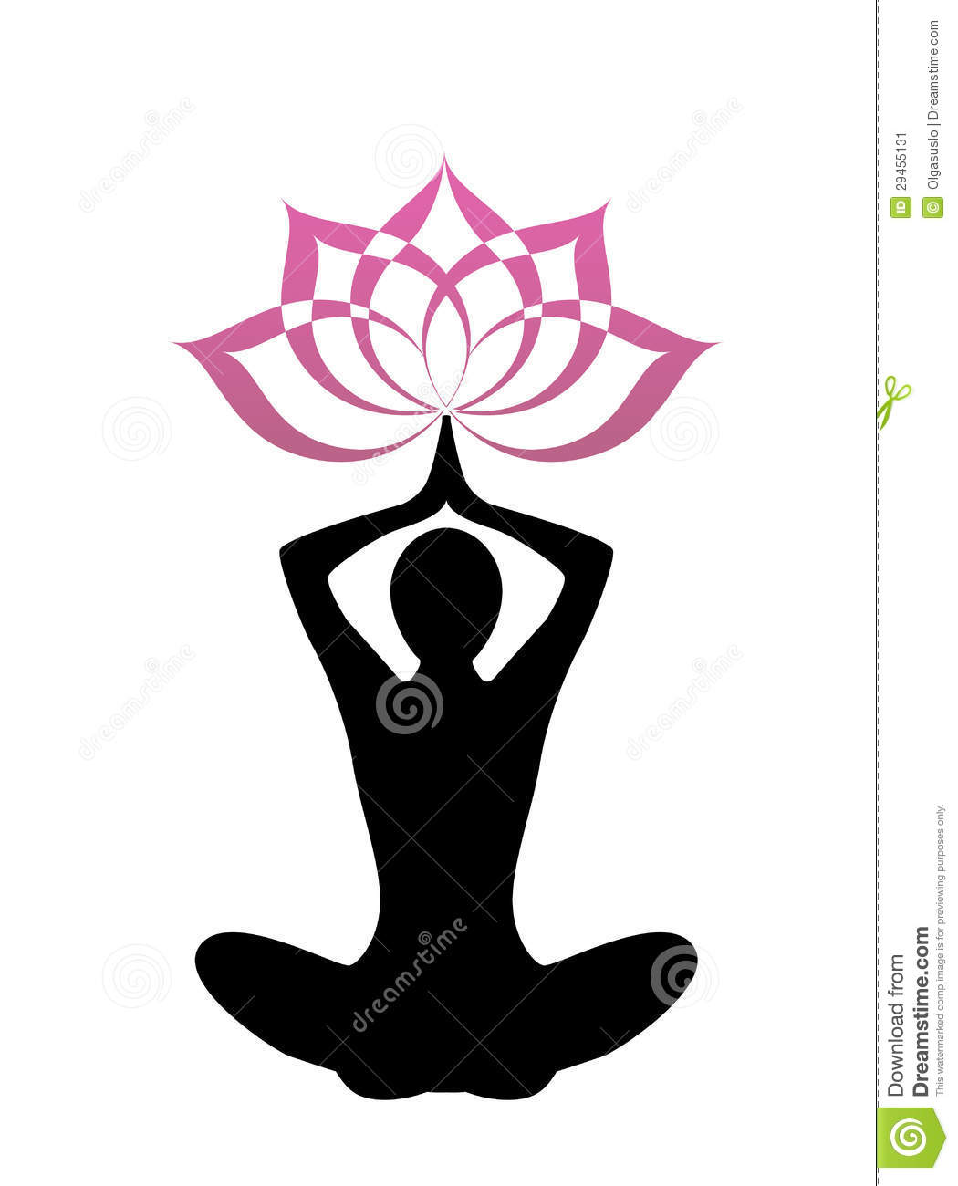 Female silhouette yoga above her head a lotus flower