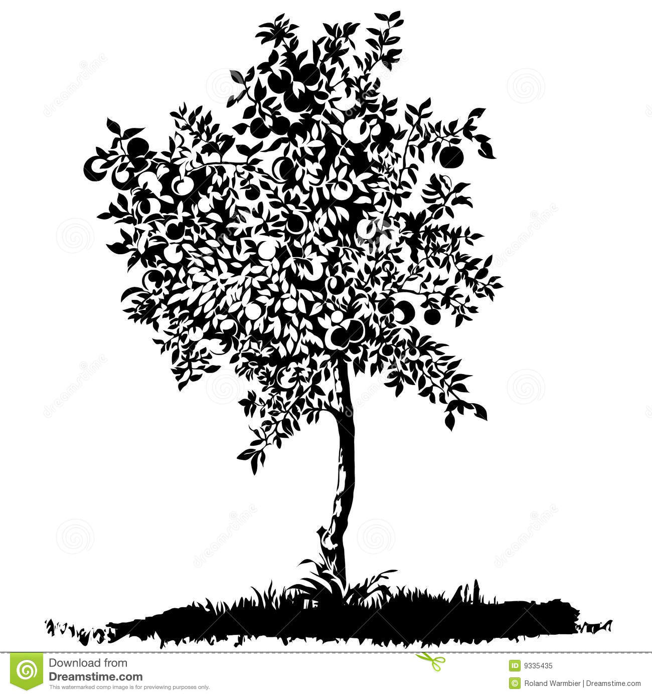 Silhouette Of A Young Apple Tree Royalty Free Stock Photo