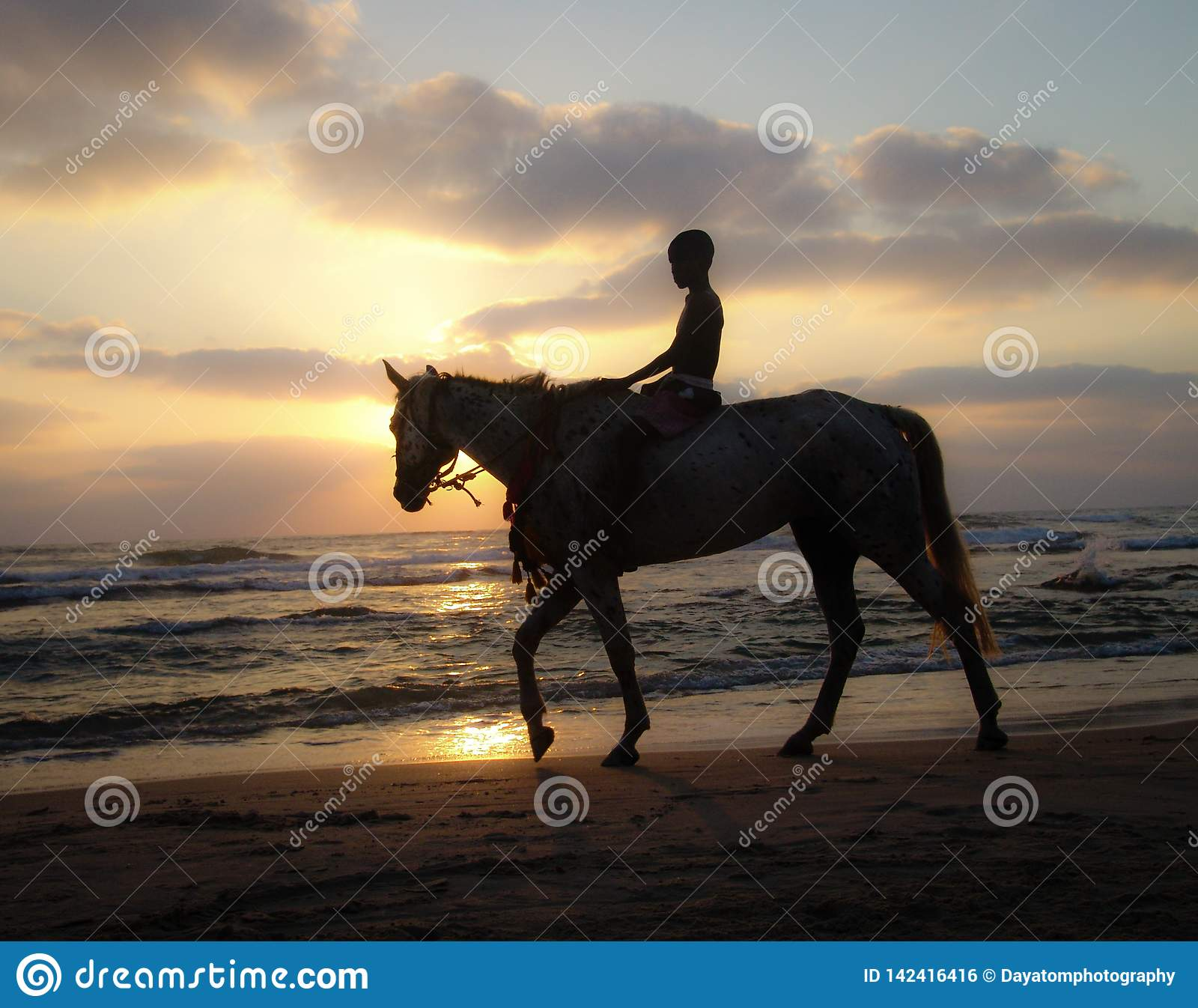 Silhouette of a young boy riding a horse at sunset on a sandy beach under a cloudy warm sky