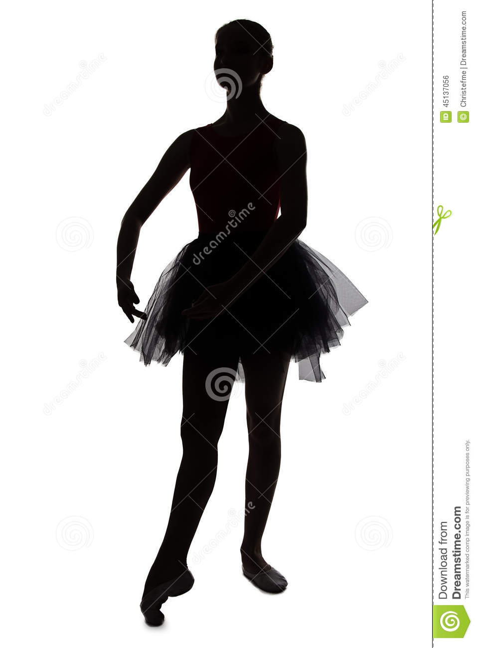 Silhouette of young dancing ballerina