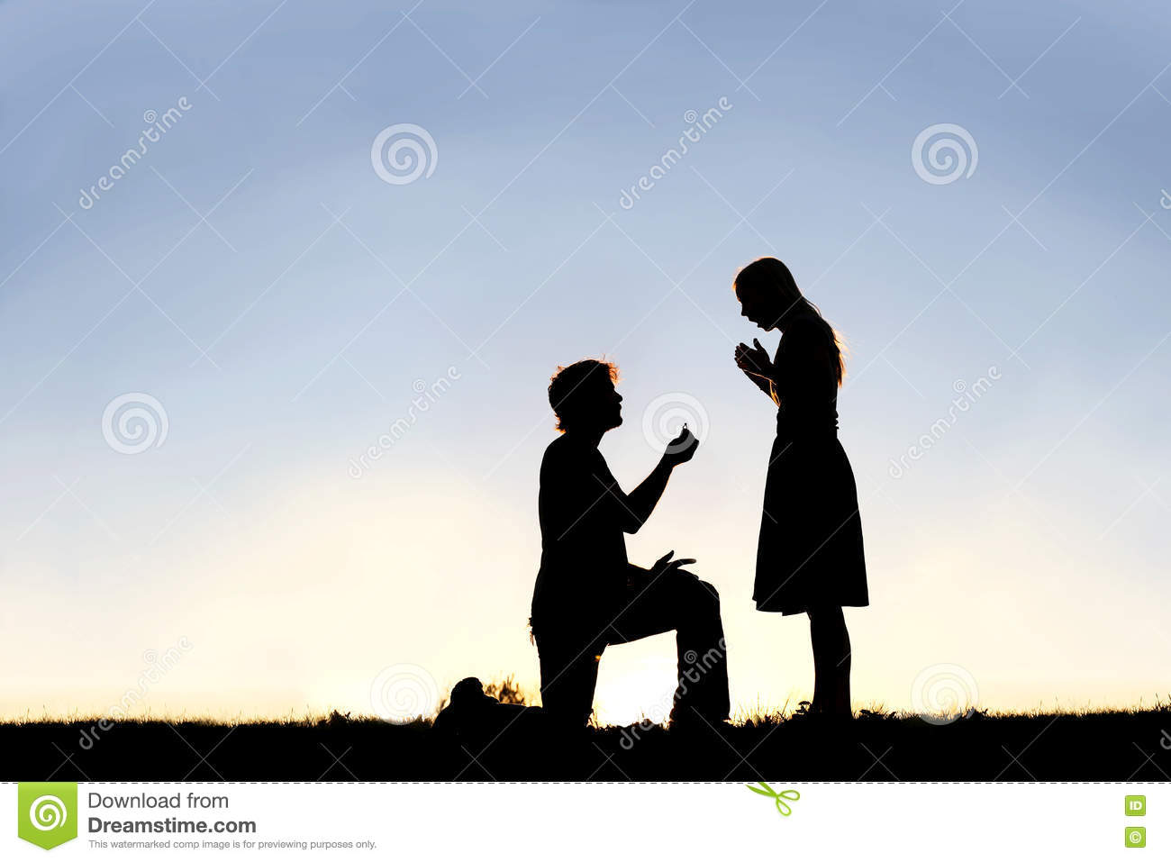 Guy With The Ring On His Knee Makes A Proposal To The Girl