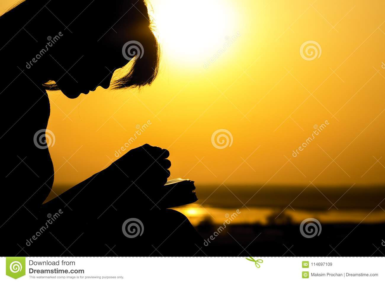 Silhouette of the hands of woman praying to God in the nature witth the Bible at sunset, the concept of religion and spirituality
