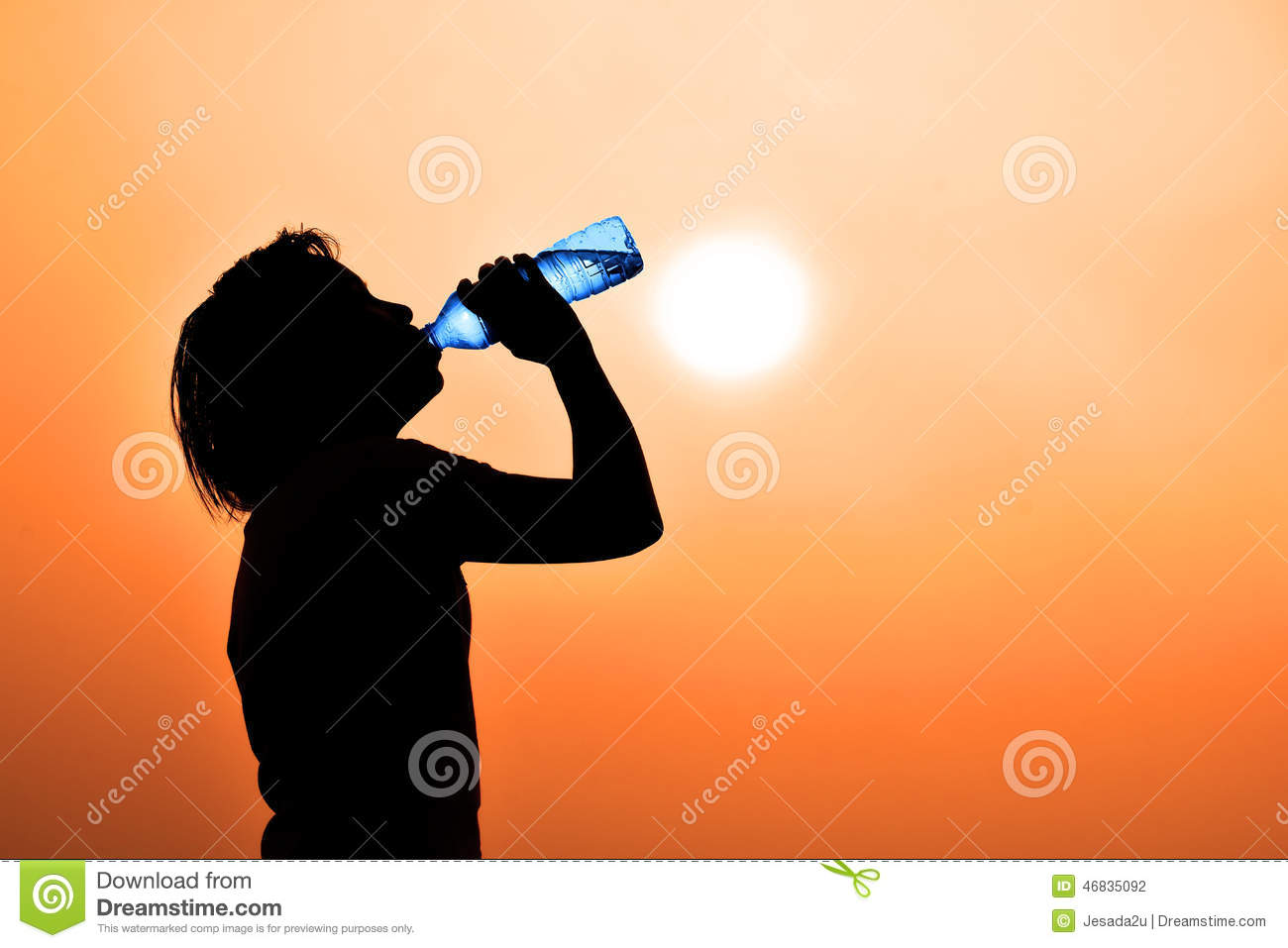 Silhouette of young woman drinking water ( thirsty, hot feeling a need to drink water)