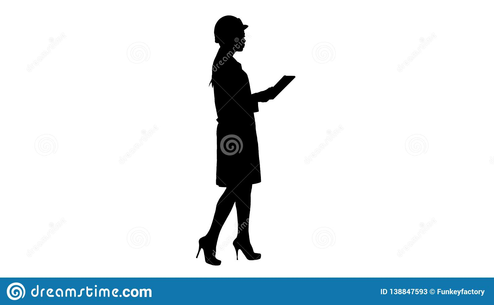 Silhouette Young woman engineer walking with tablet looking at objects around.