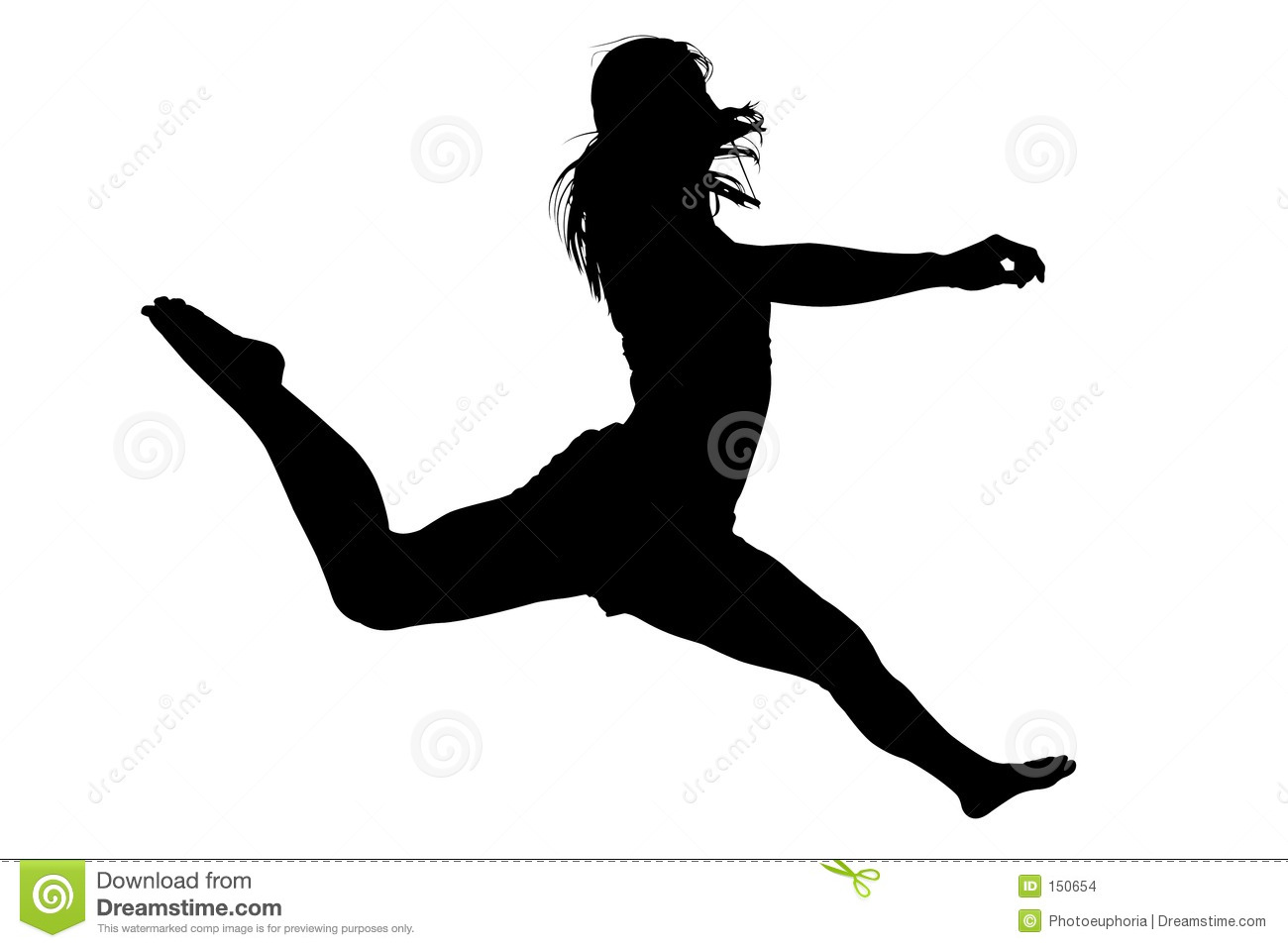 Silhouette Young Woman Jumping 2