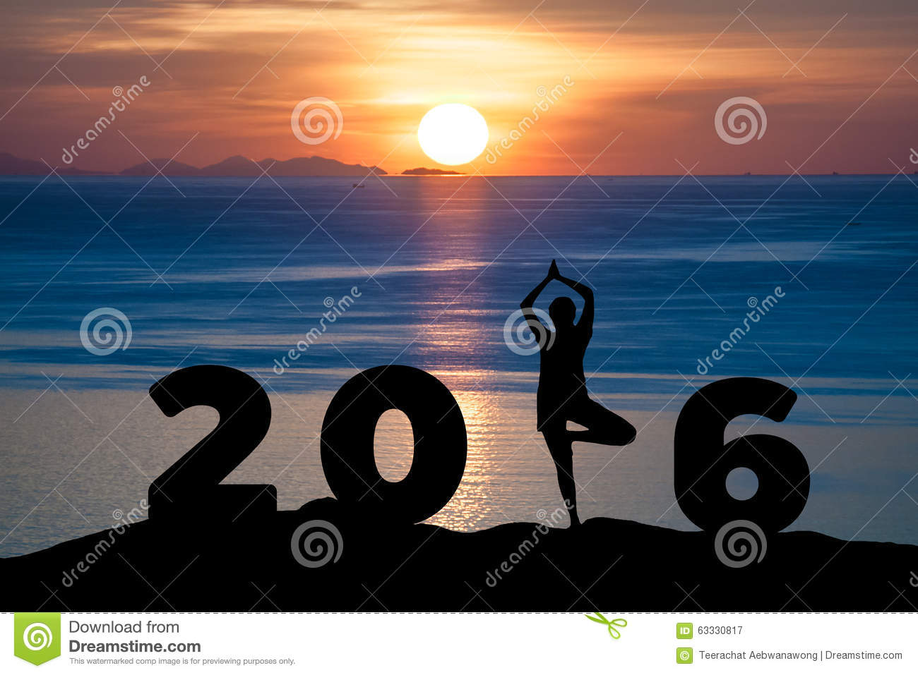 Silhouette young woman play Yoga on the sea and 2016 years while celebrating new year