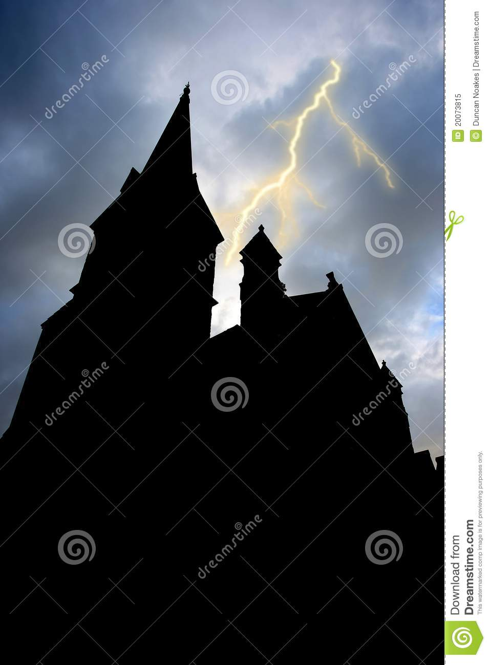 Silhouetted Building and Lightning