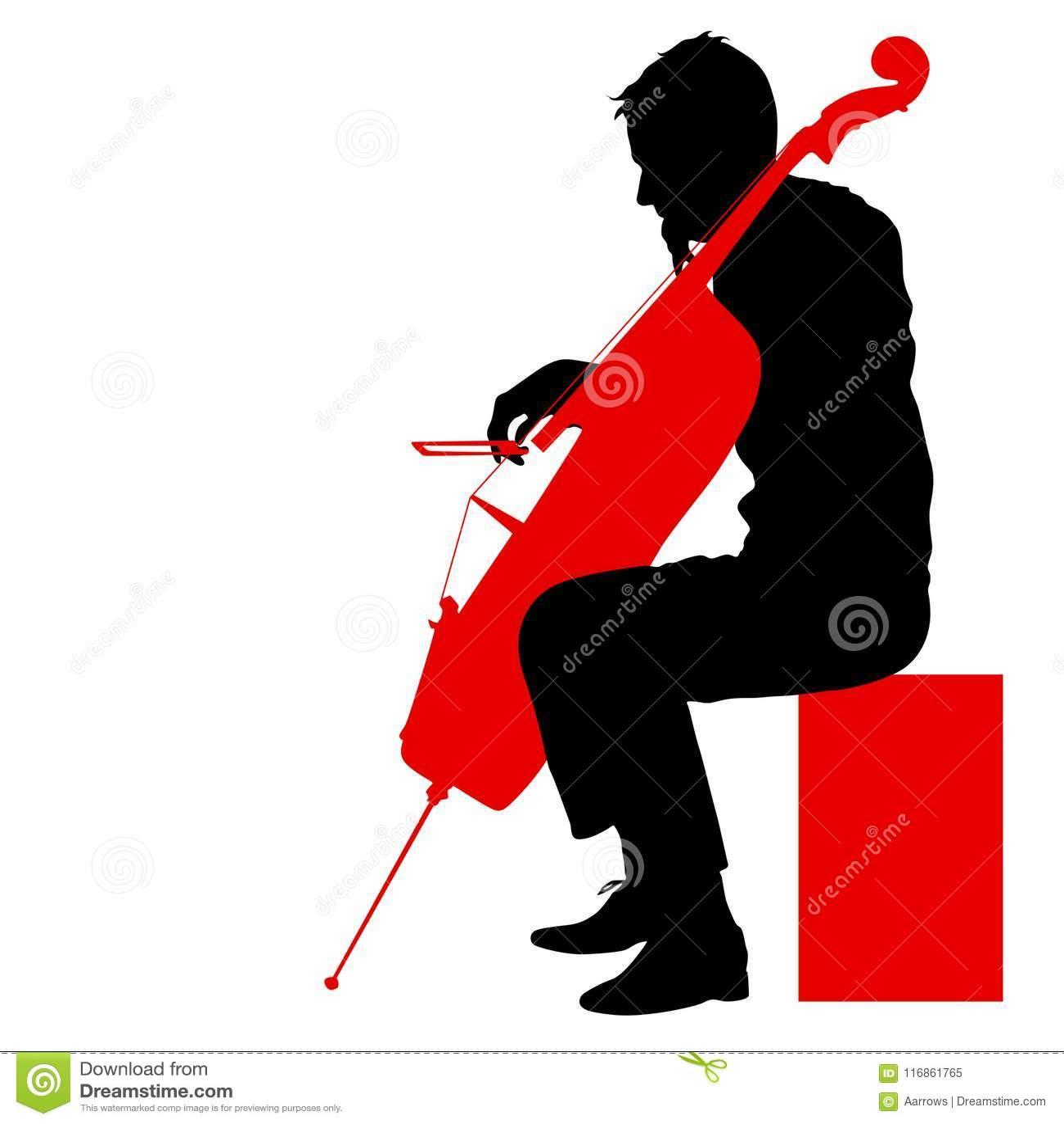 Silhouetteert een musicus die de cello op een witte achtergrond spelen