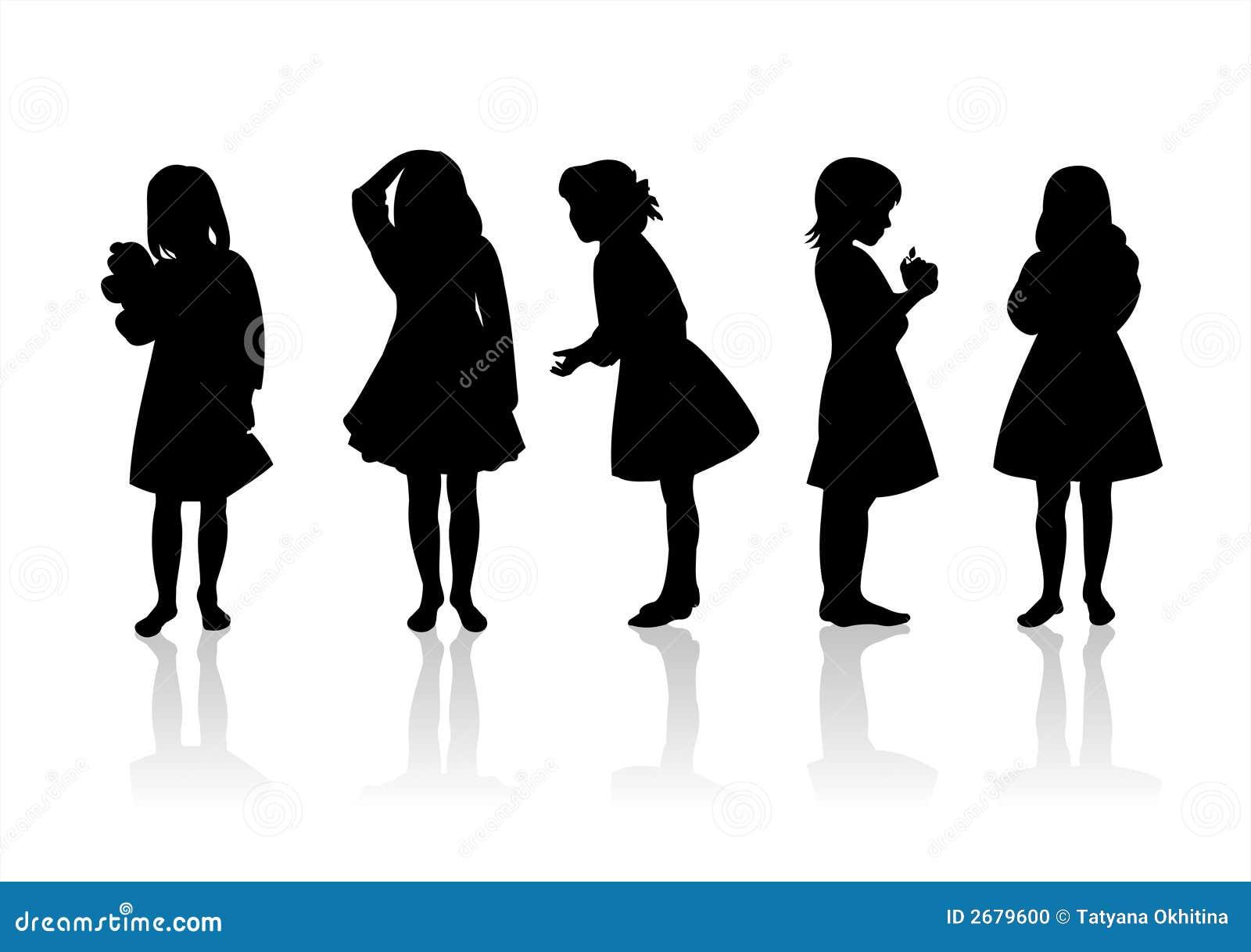 Silhouetten 11 van kinderen