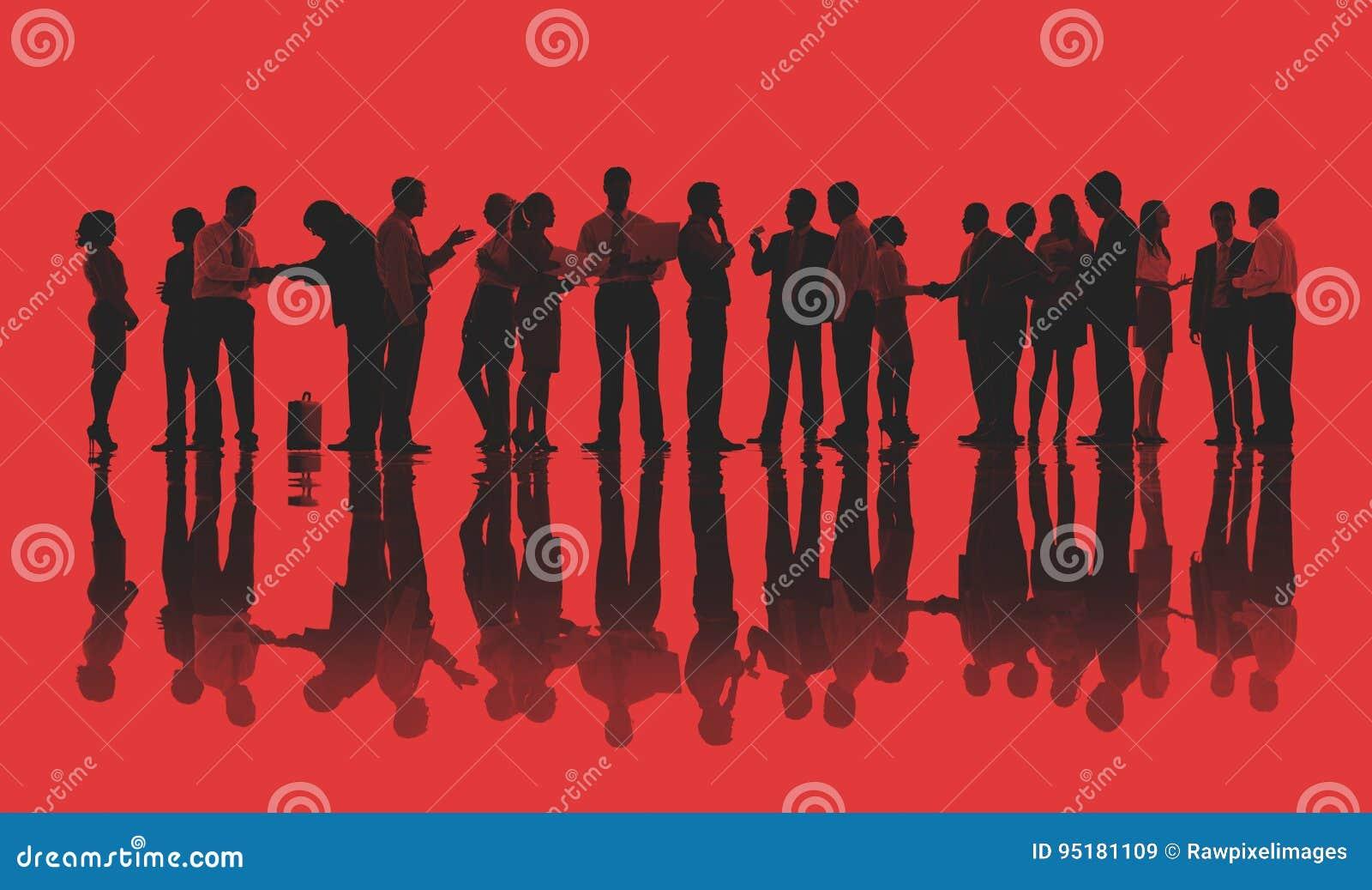 Silhouetten van Bedrijfsmensen die Concept werken