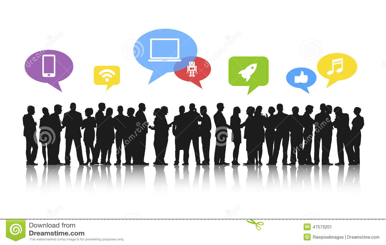 Silhouetten van Bedrijfsmensen en Sociale Media Concepten die werken