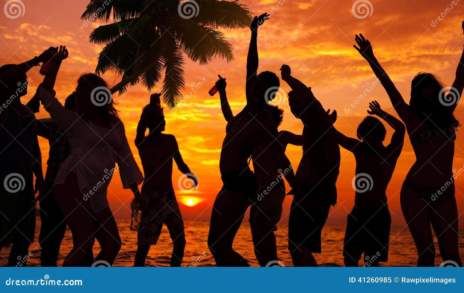 Silhouetten van Diverse Multi-etnische Mensen Partying