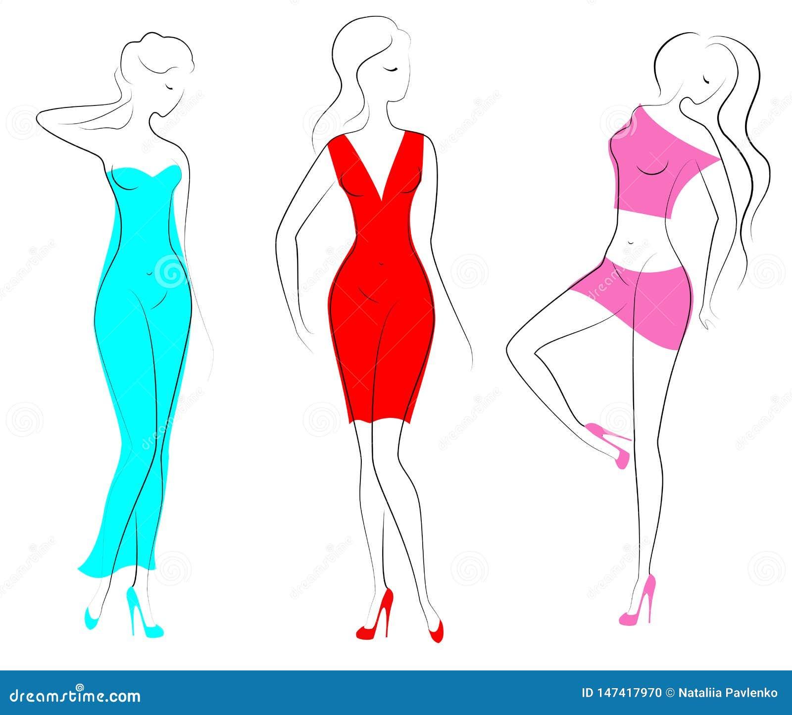 Silhouetten van drie mooie dames De mooie meisjes bevinden zich in verschillend stelt De vrouwen zijn gekleed in transparante kle
