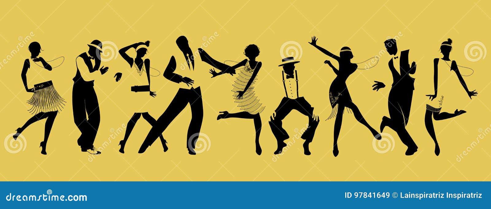 Silhouetten van negen mensen dansend Charleston