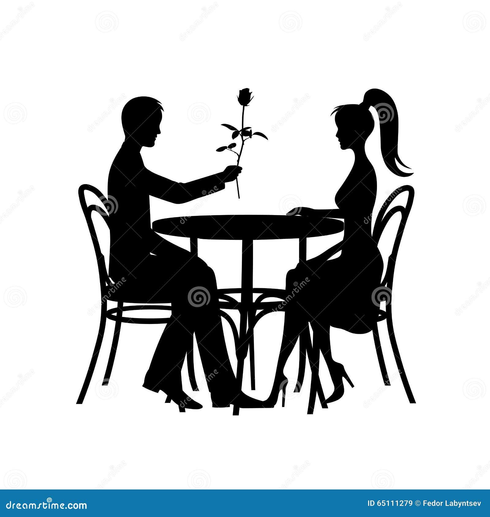Silhouetten van romantisch paar in liefdevergadering over een witte achtergrond