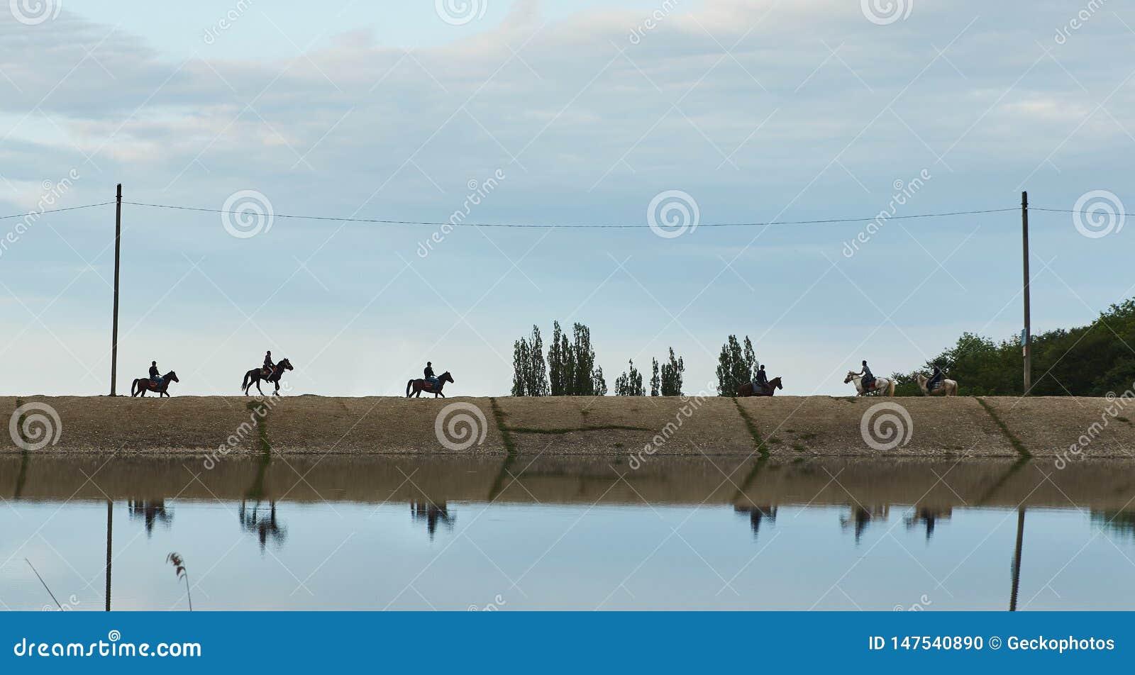 Silhouetten van ruiters op horseback gang langs de weg over de rivier