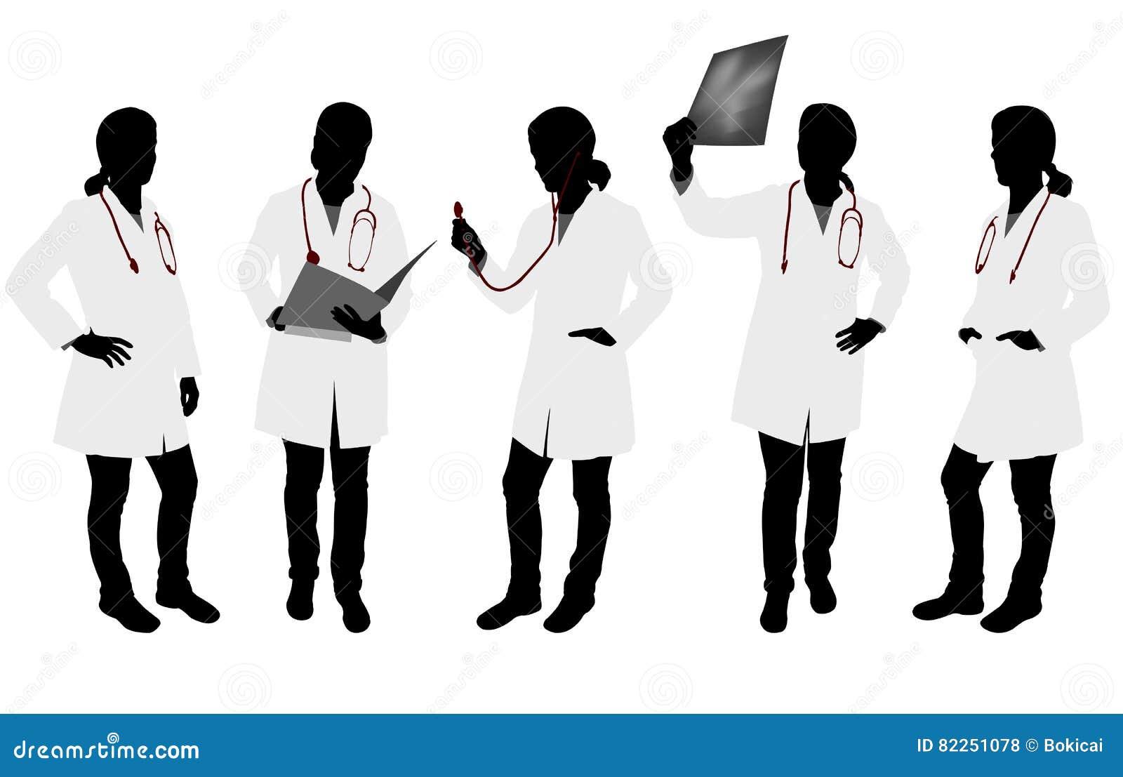 Silhouetten van vrouwelijke arts