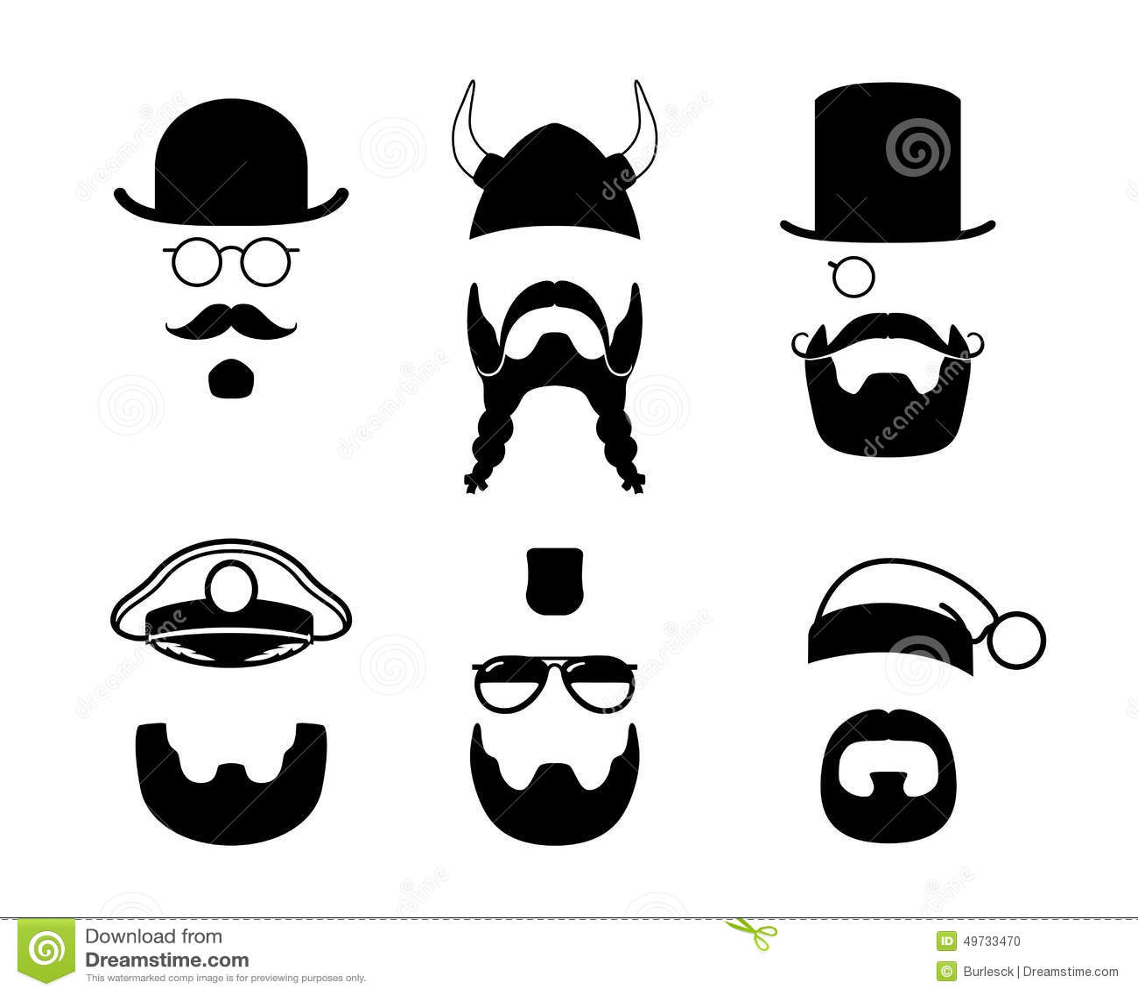 Silhouettendelen van gezicht Snor, baard, haar