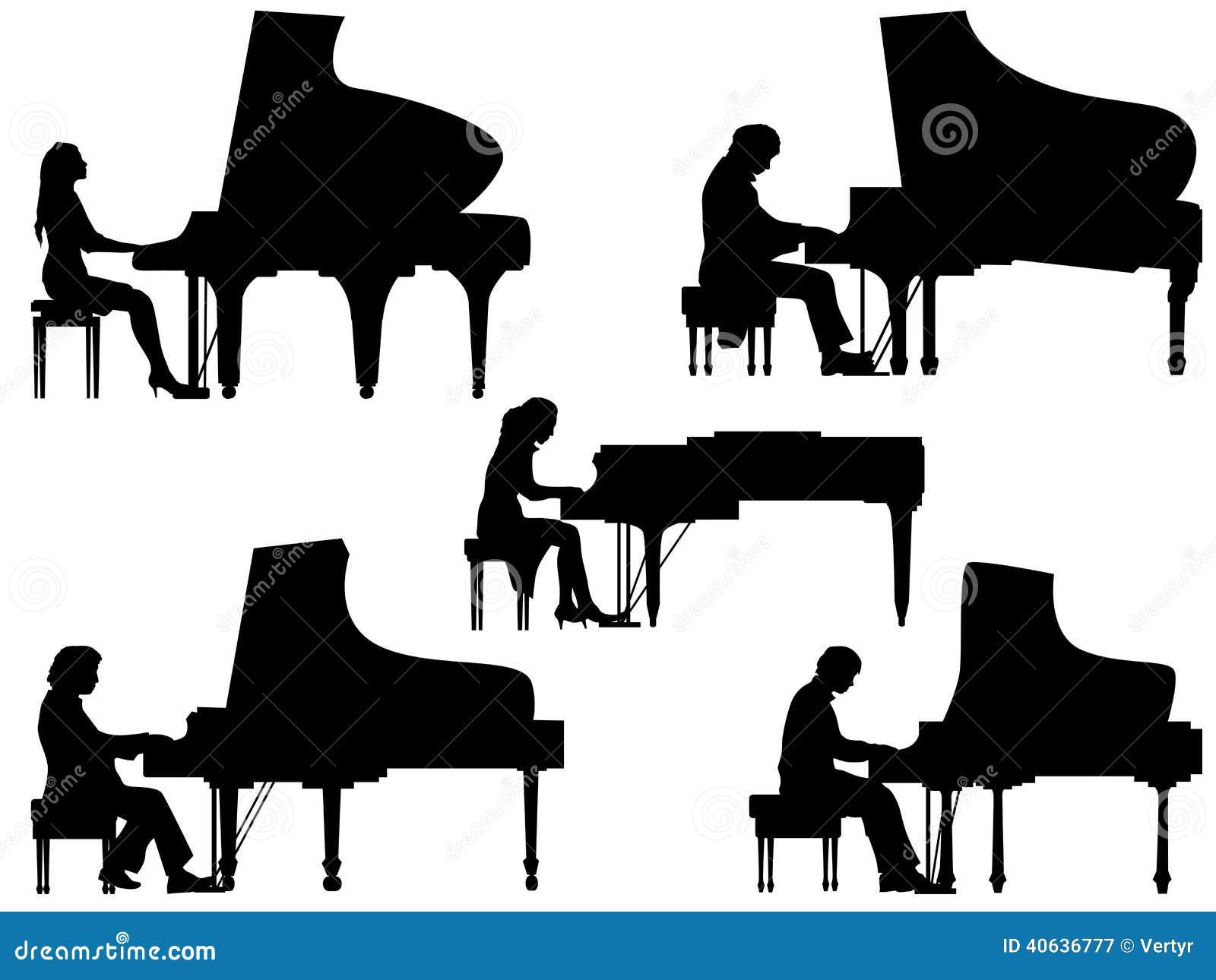 Silhouettes пианист на рояле