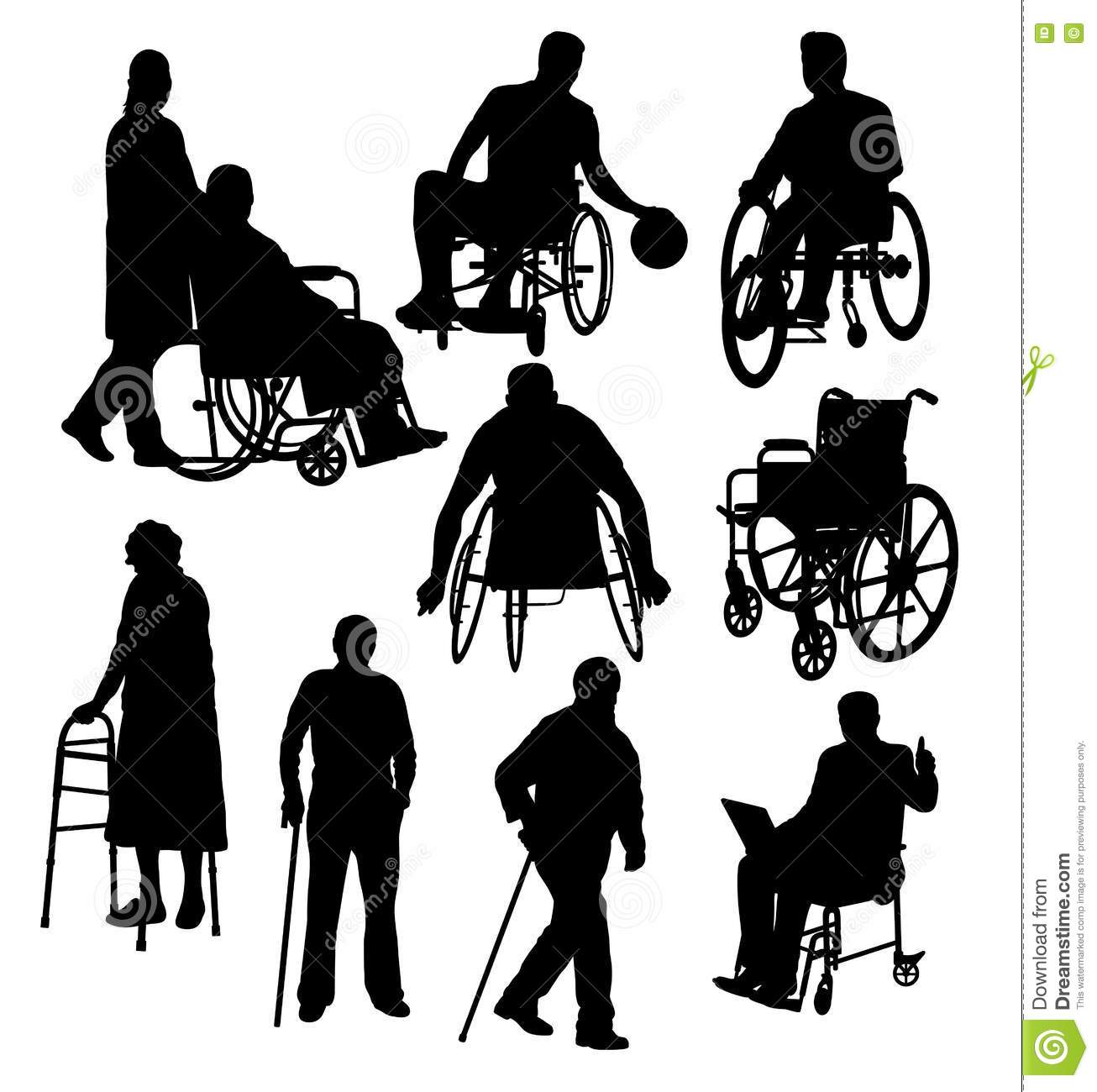 Silhouettes Activity People With Disabilities Stock Vector ...