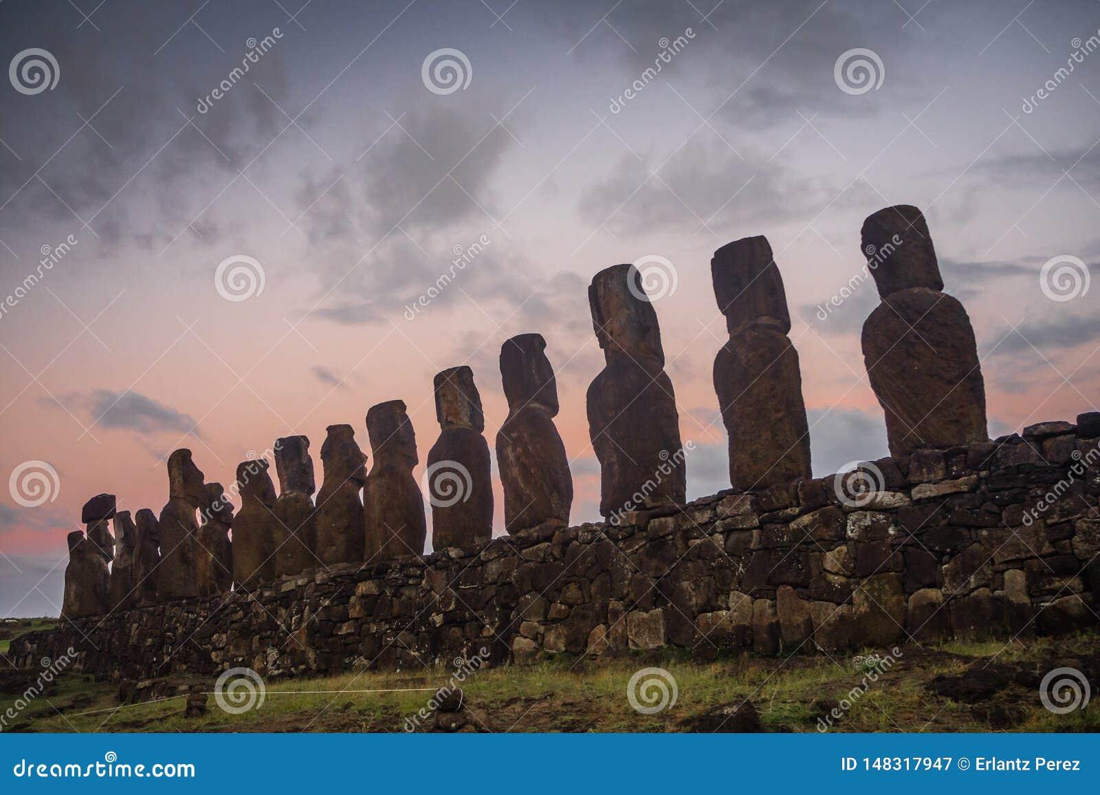 Silhouette Of Nine Of 15 Huge Moai Statues At Ahu
