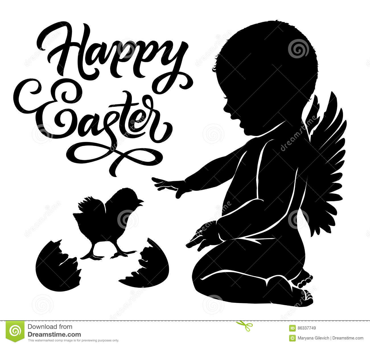 Silhouettes Angel And Baby Chick Happy Easter Stock Vector