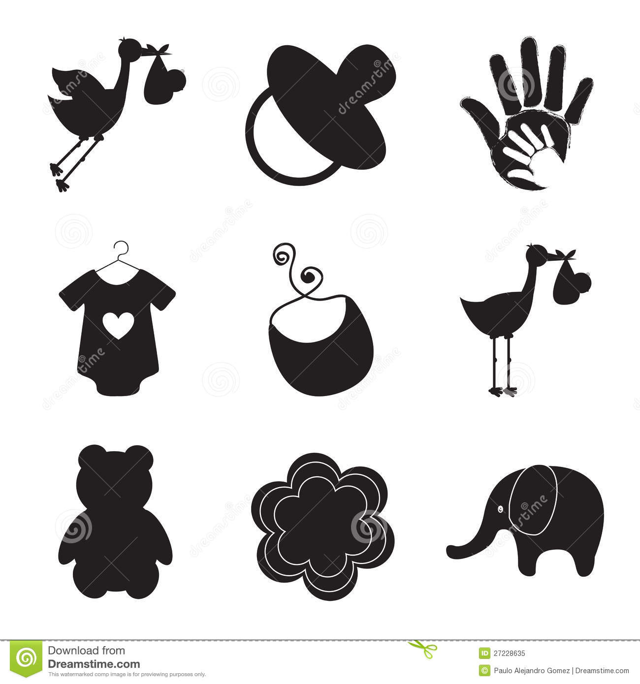 Silhouettes Of Baby Items Stock Illustration Illustration Of