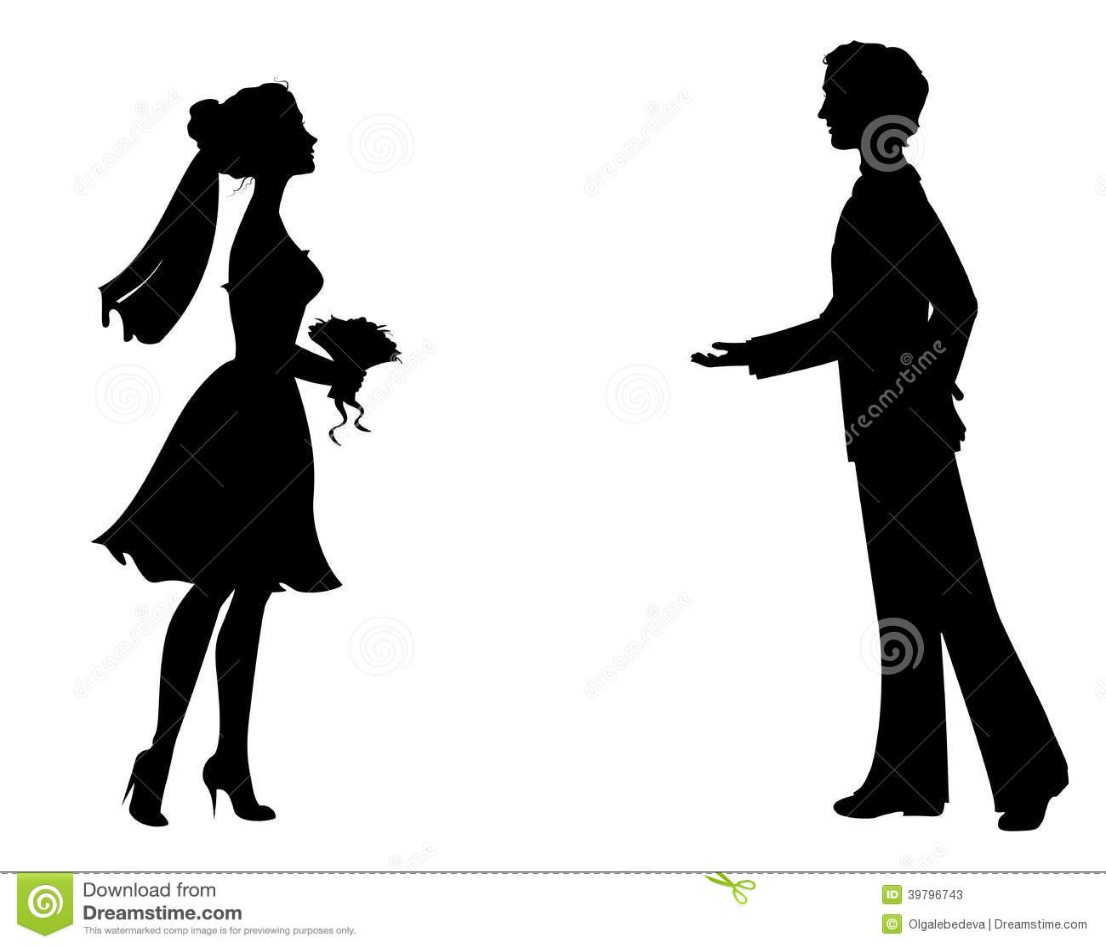 Vector wedding dress silhouette