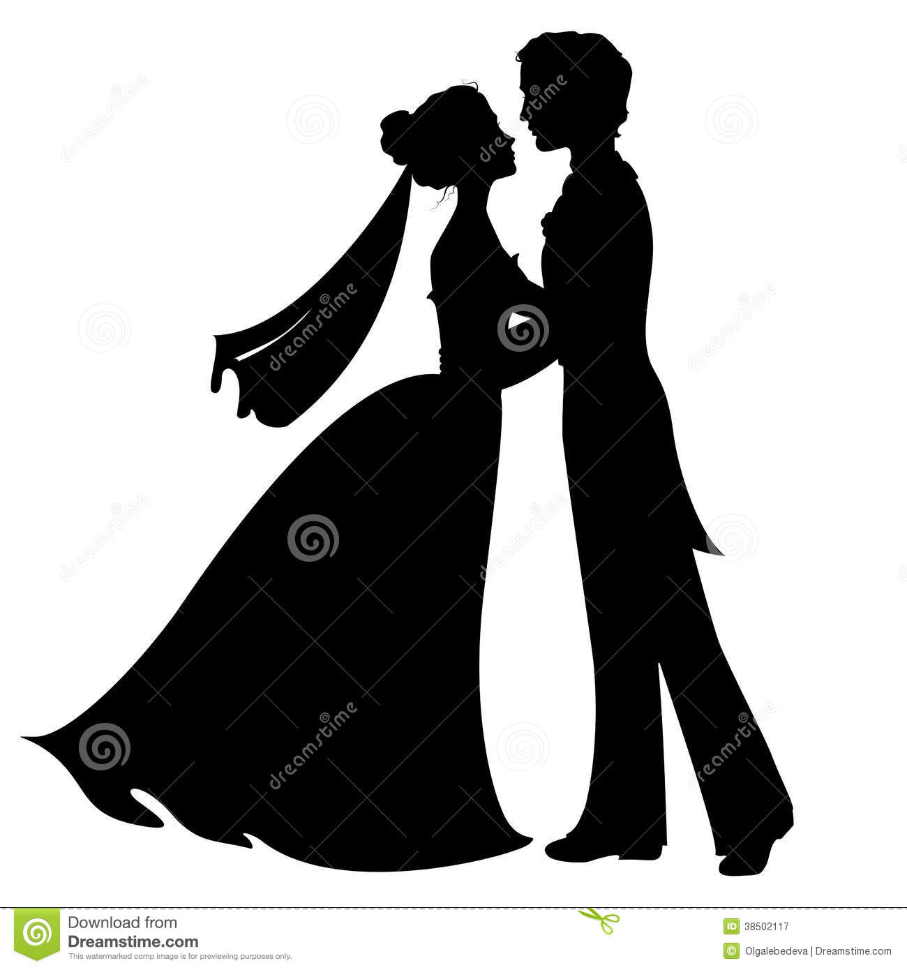 Silhouettes Of Bride And Groom Royalty Free Stock Photography - Image ...
