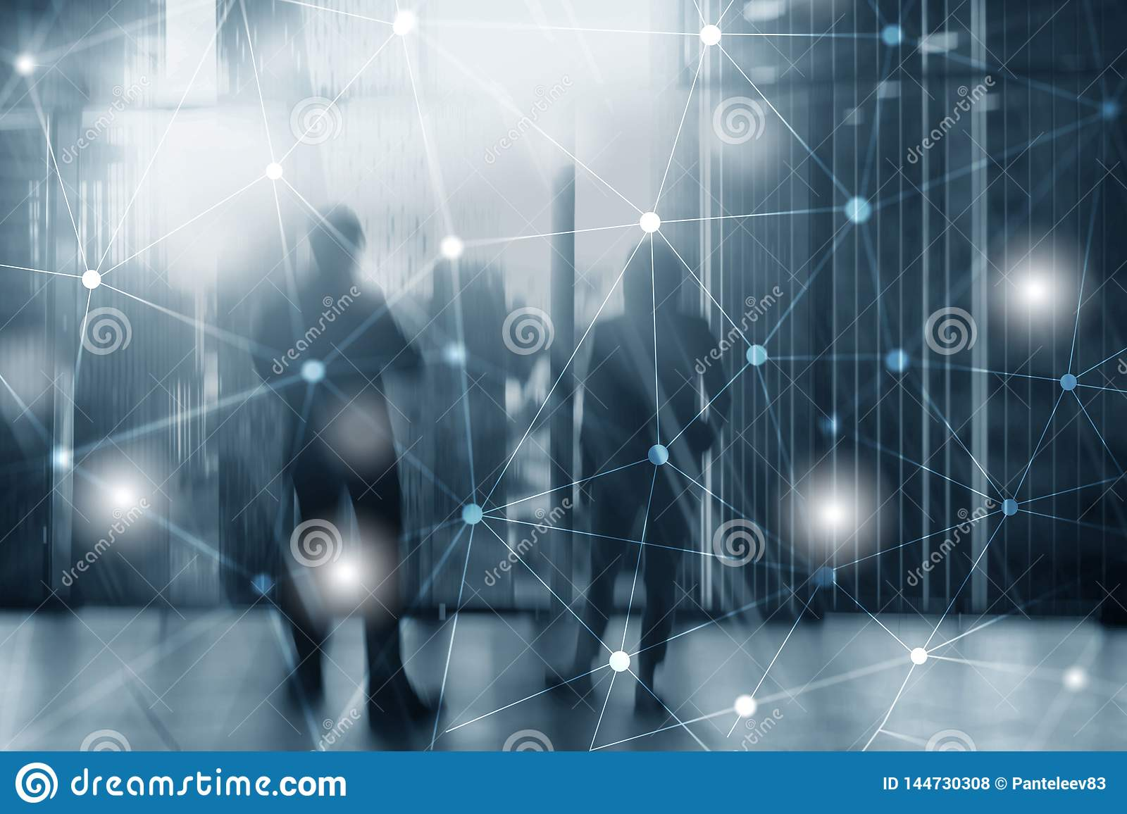 Silhouettes Of Business People Over Cityscape Background