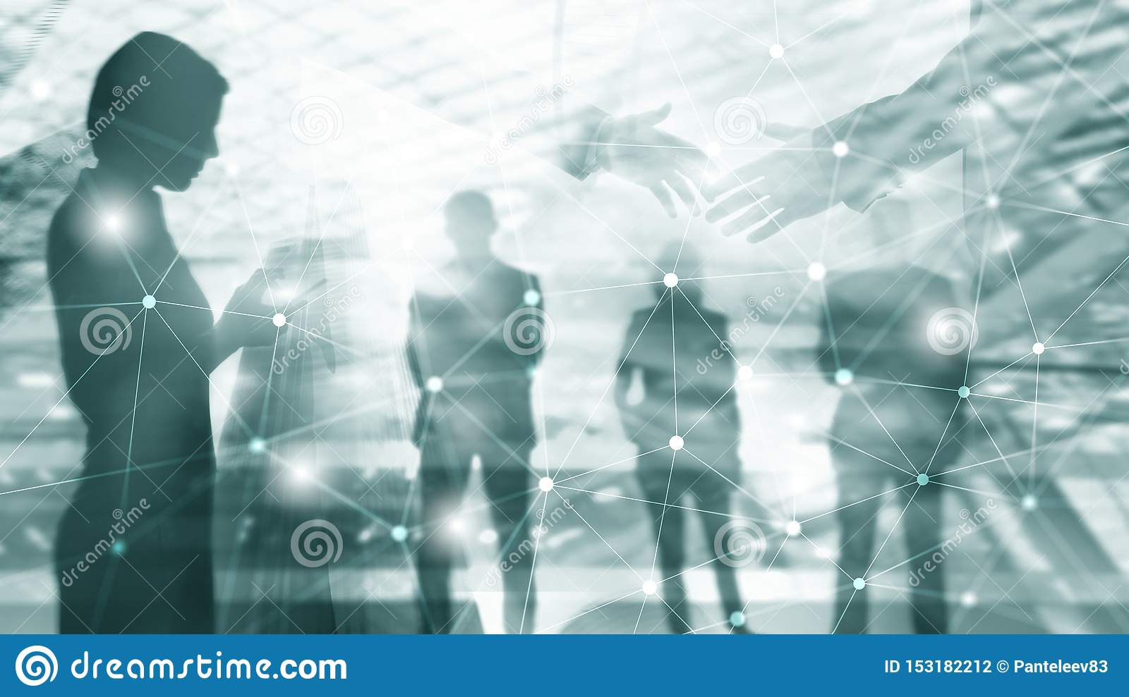 Silhouettes of Business People Over Cityscape Background. Corporate Lifestyle. Universal Wallpaper Concept