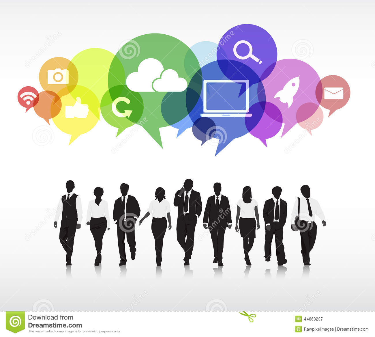 Silhouettes Of Business People With Speech Bubbles Stock ...
