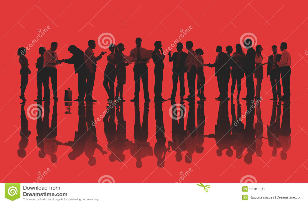 Silhouettes of Business People Working Concept