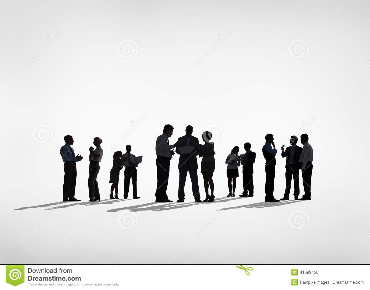 Silhouettes Of Business People Working Together Stock Photo Image