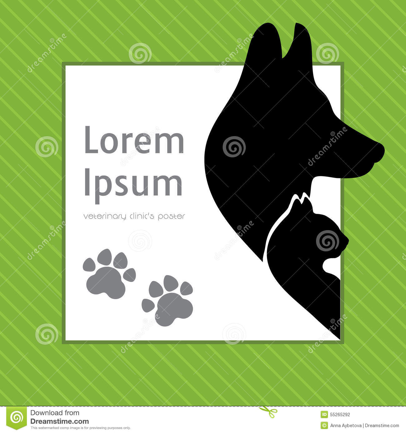 Silhouettes Of Cat And Dog On The Poster Template For Veterinary