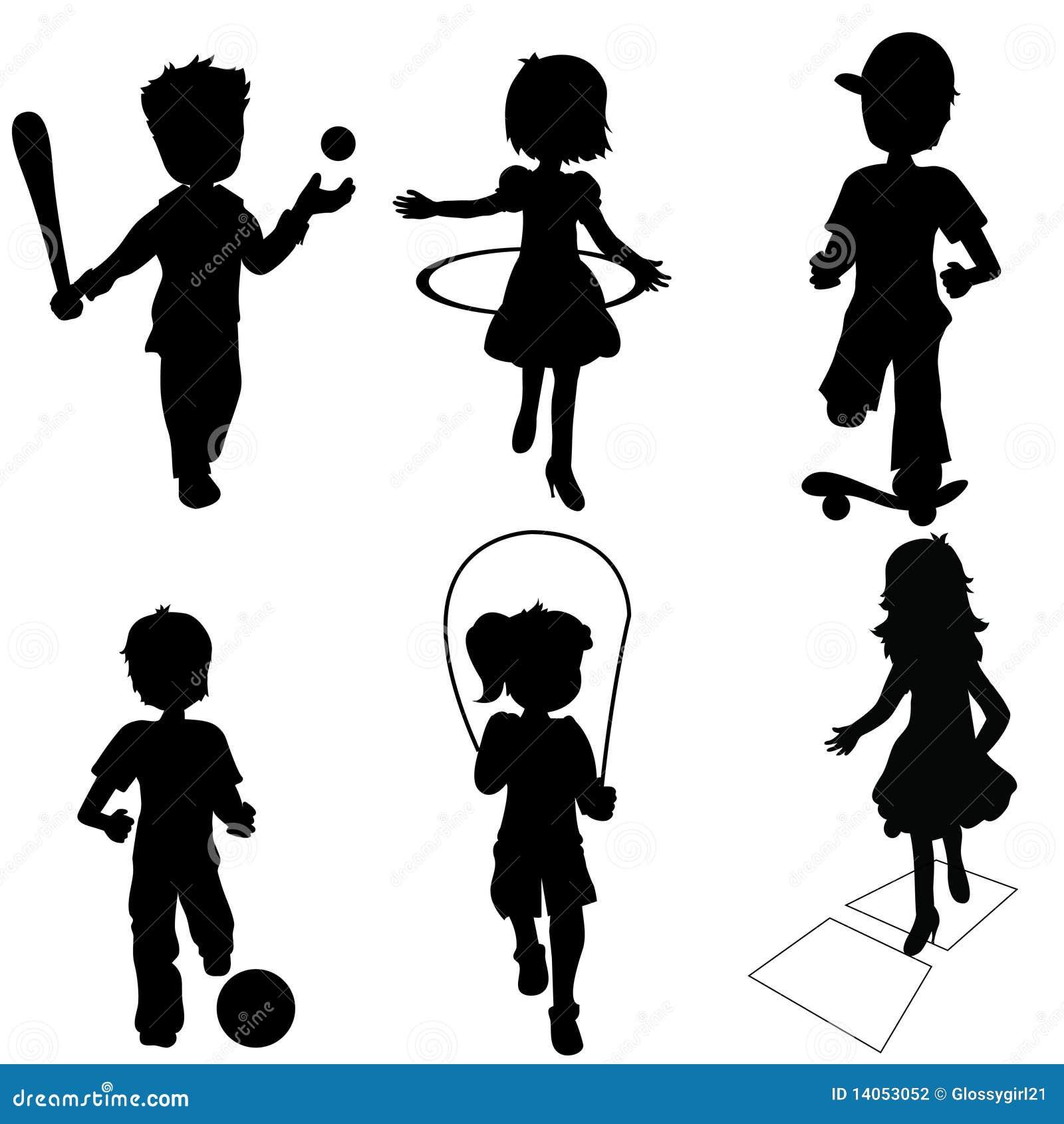 children playing silhouette - photo #25