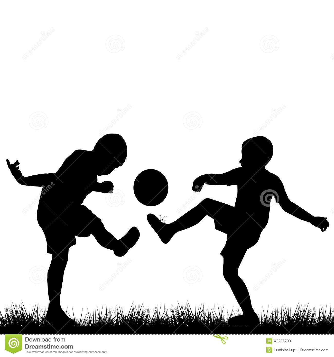 Silhouettes Of Children Playing Football Stock Vector ...