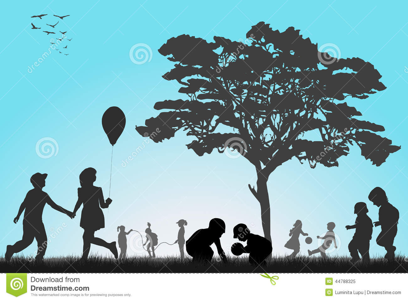 Silhouettes of children playing outside stock vector for Outside landscape group