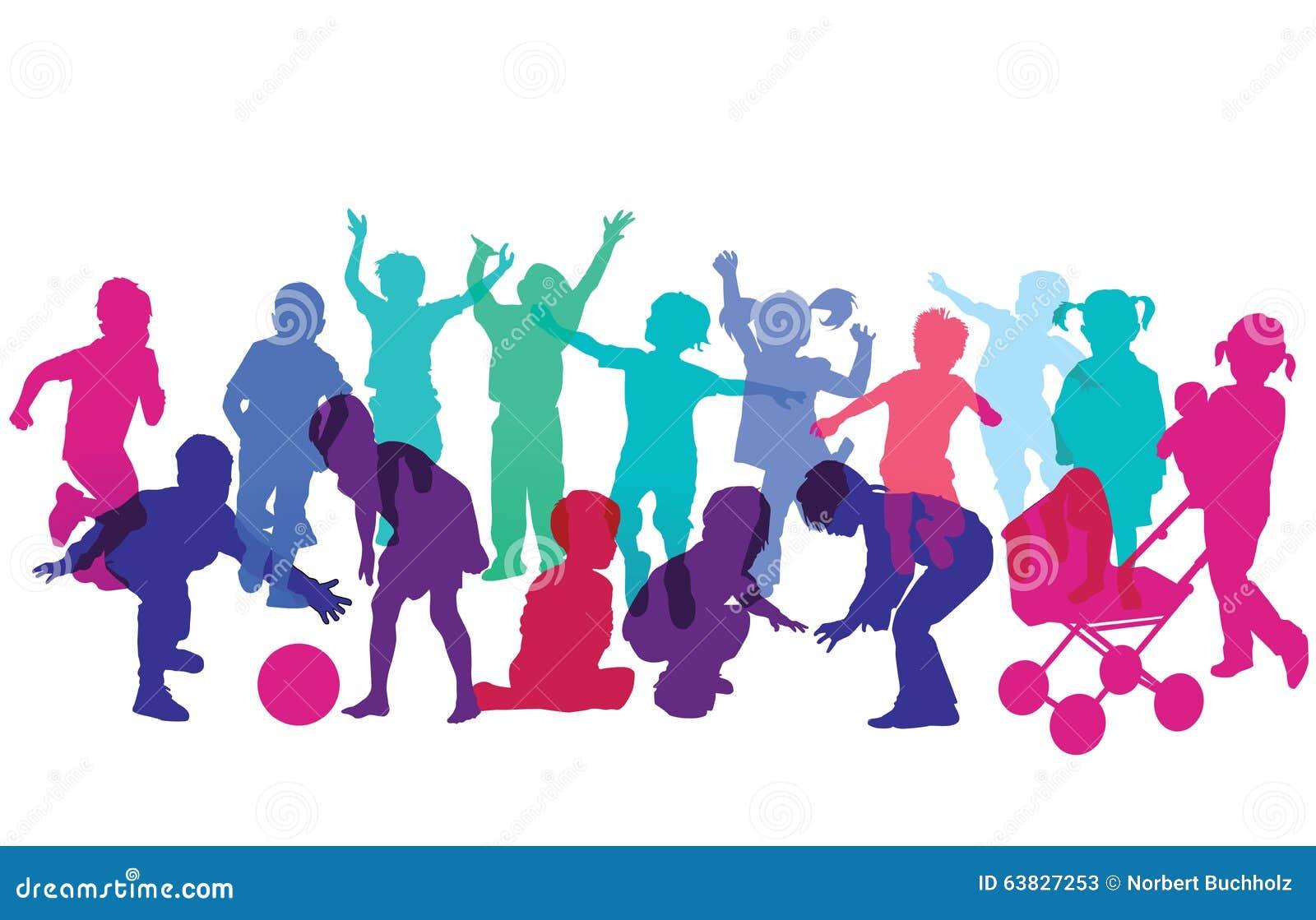 colorful silhouettes of children running cartoon vector kids running clip art black and white Running Race Clip Art