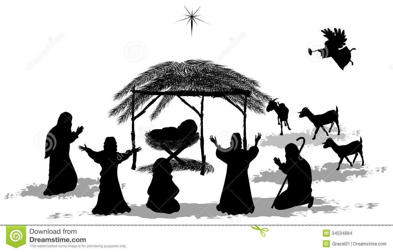 Silhouettes Christmas Nativity Scene Stock Images - Image: 34534884